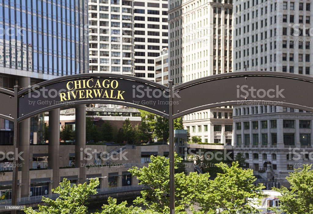 Chicago Tribune Tower and River Walk stock photo
