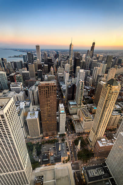 Chicago Twilight from the Heights stock photo