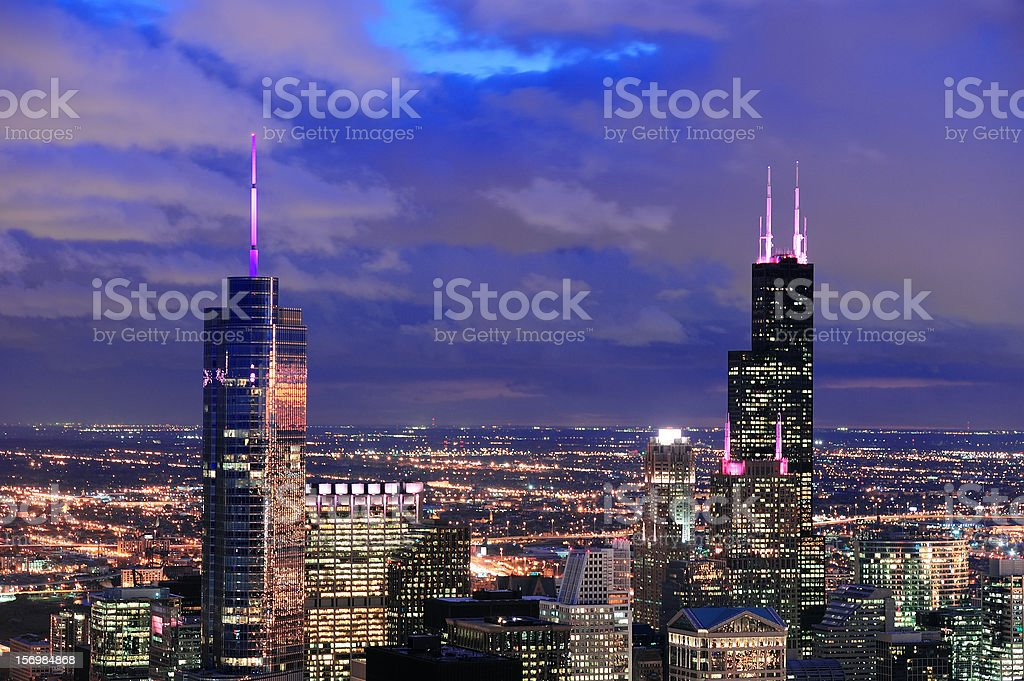 Chicago Urban aerial view at dusk stock photo