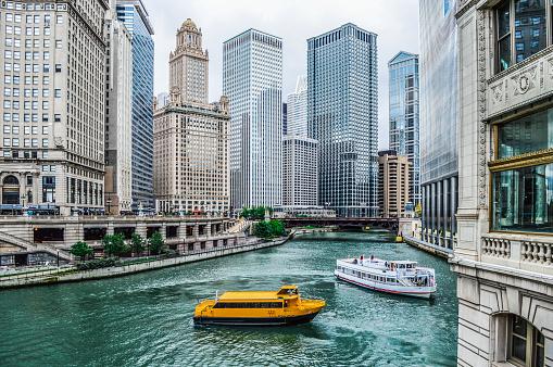 Chicago Urban Cityscape along the Chicago River