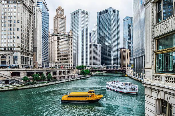 Chicago Urban Cityscape along the Chicago River stock photo