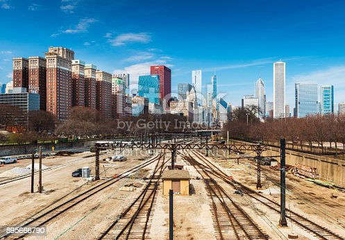 Chicago - March 2017, Illinois, USA: View of downtown Chicago and railway tracks. Museum Campus train station