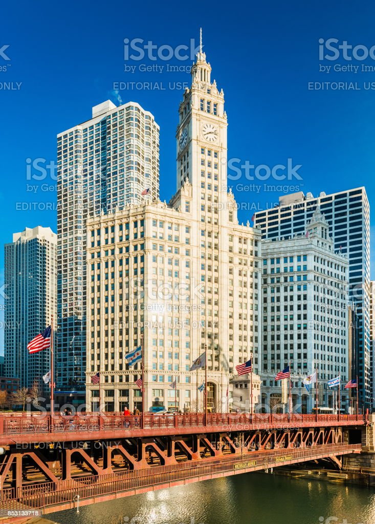 Chicago, USA: View of the Wrigley Building and DuSable Bridge in downtown Chicago. stock photo