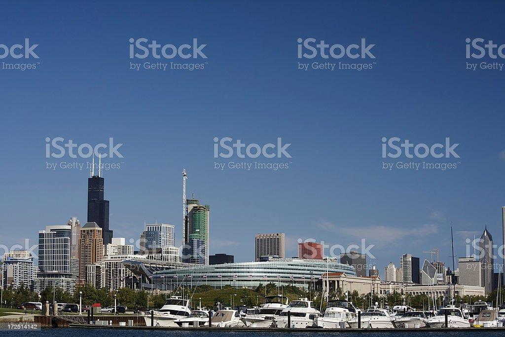 Chicago View from Burnham Harbor royalty-free stock photo