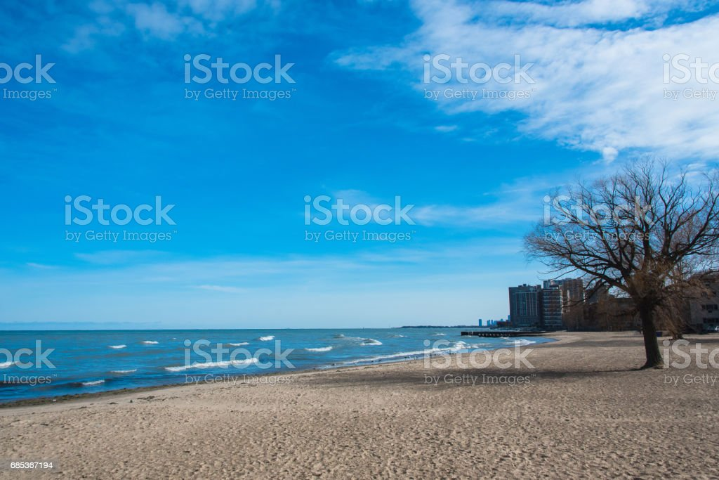 Chicago view on a Michigan Lake royalty-free stock photo