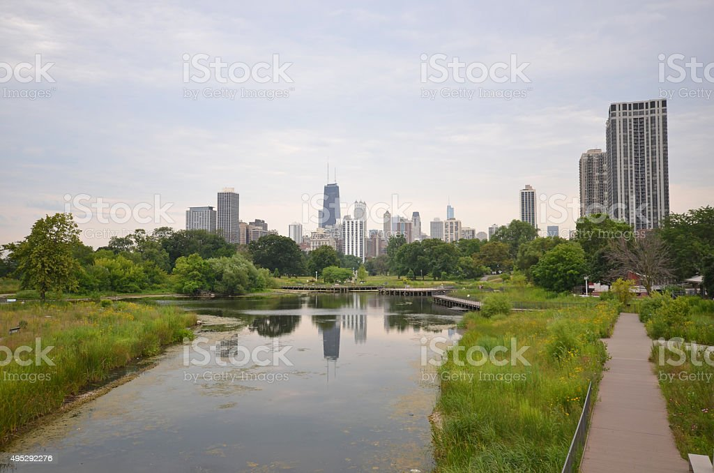 Chicago view zoo stock photo