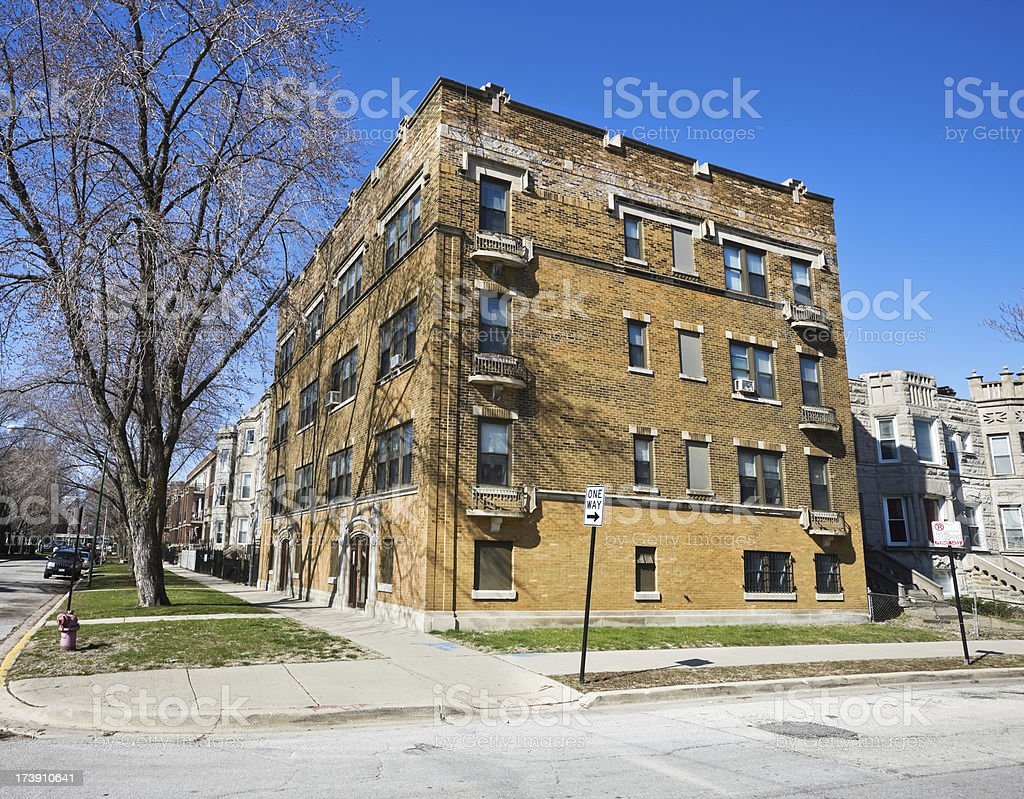 Chicago Vintage Apartment Building on South Side royalty-free stock photo