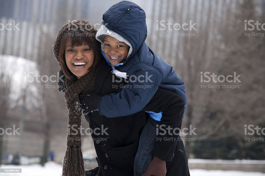 Chicago Winter - Mother and Son royalty-free stock photo