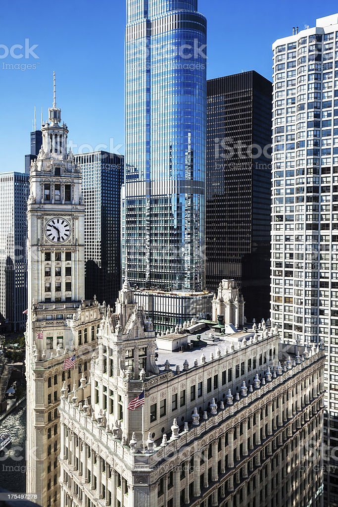 Chicago Wrigley Building and Trump Tower stock photo