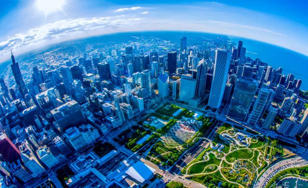 Chicago,IL Aerial_ Millenium,&Maggie Daly Parks stock photo