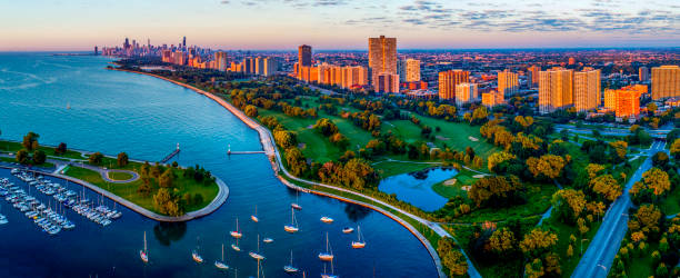 Chicago,IL Lakefront Aerial Sunrise & Sid Marovitz Public Golf Course stock photo