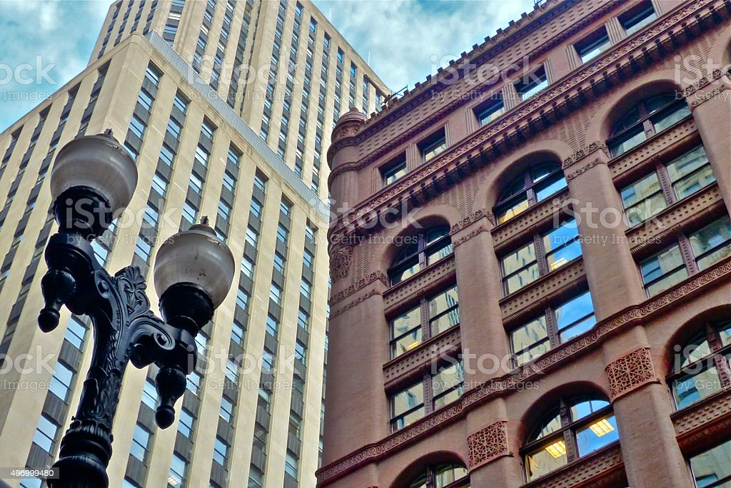 Chicago-Rookery, gros plan, architecture stock photo