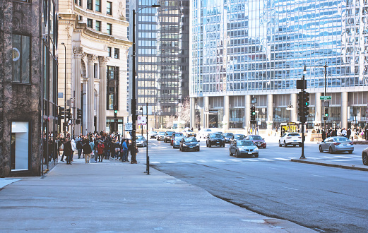 Chicago's busy streets in daylight.