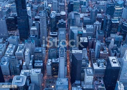 Chicago's famous high-rise building seen from above