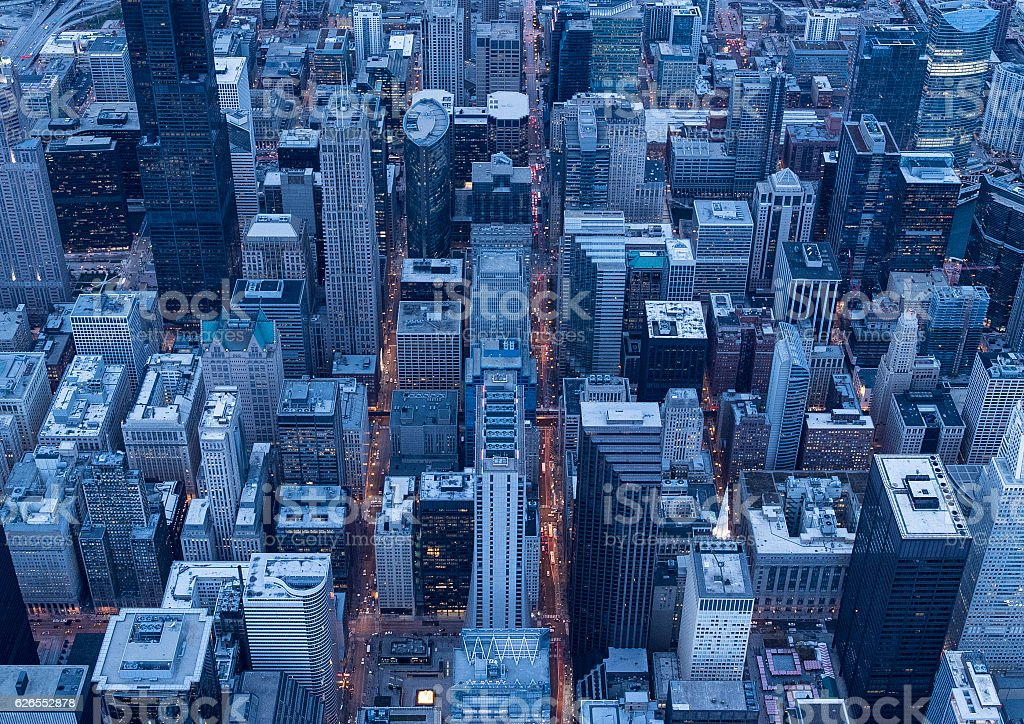 Chicago's famous high-rise building seen from above stock photo