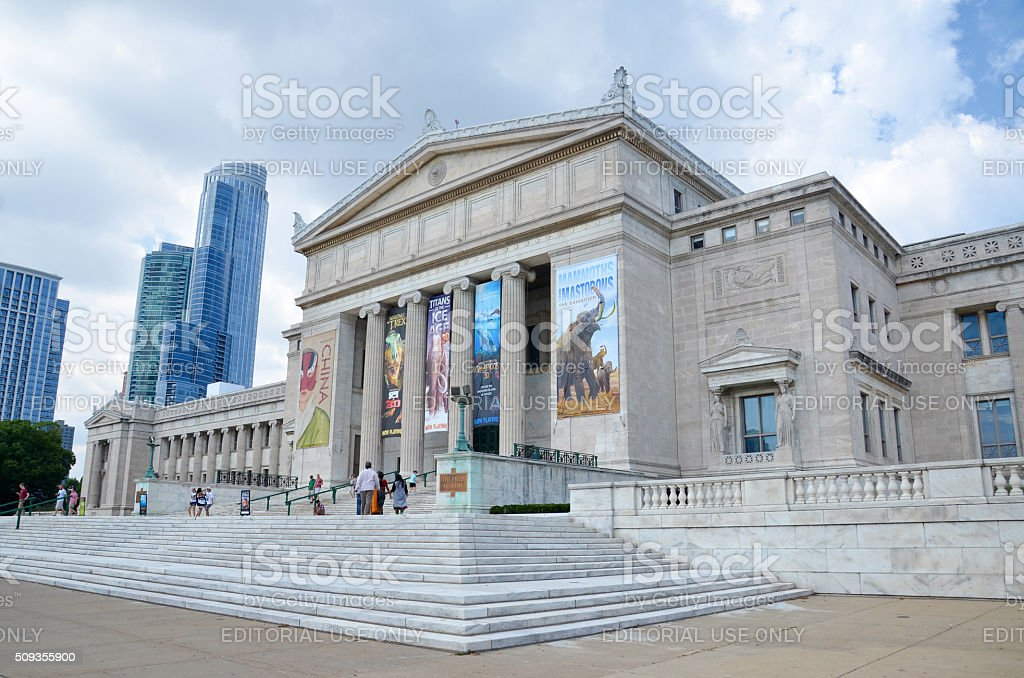 Chicago's Field Museum of Natural History Chicago, IL, USA - August 15, 2015: Chicago's Field Museum of Natural History, shown on August 15, 2015, has a collection of over 24 million specimens, and hosts over 2 million visitors a year. Agricultural Field Stock Photo