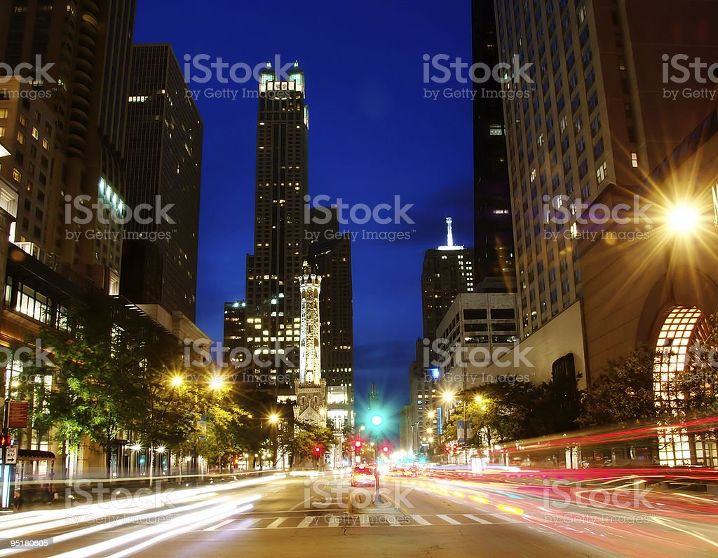 Chicago's Michigan Ave at Night stock photo