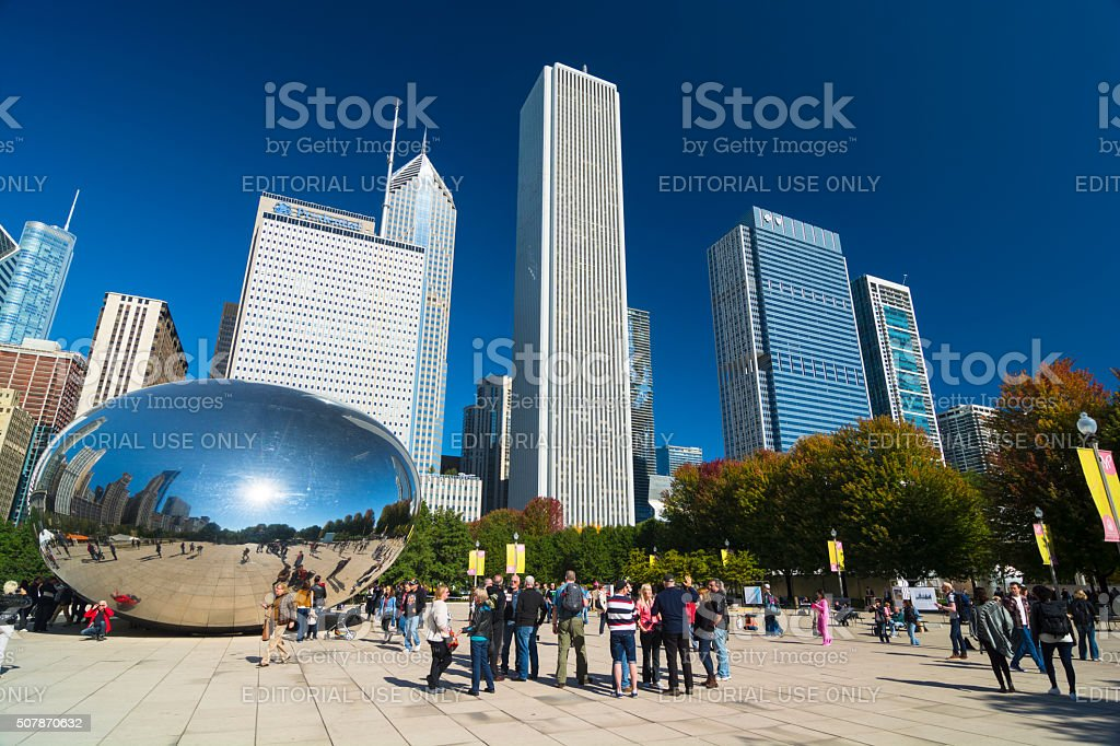 Chicago's Millenium Park with skyscrapers and Cloud Gate stock photo