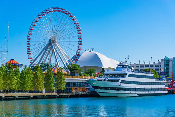 Chicago's Navy Pier along the Chicago River,ferris wheel,(P) stock photo