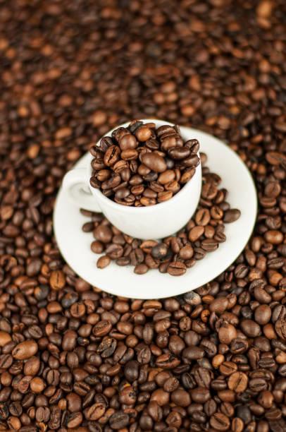 chicchi di caffè - mokkatassen stock-fotos und bilder
