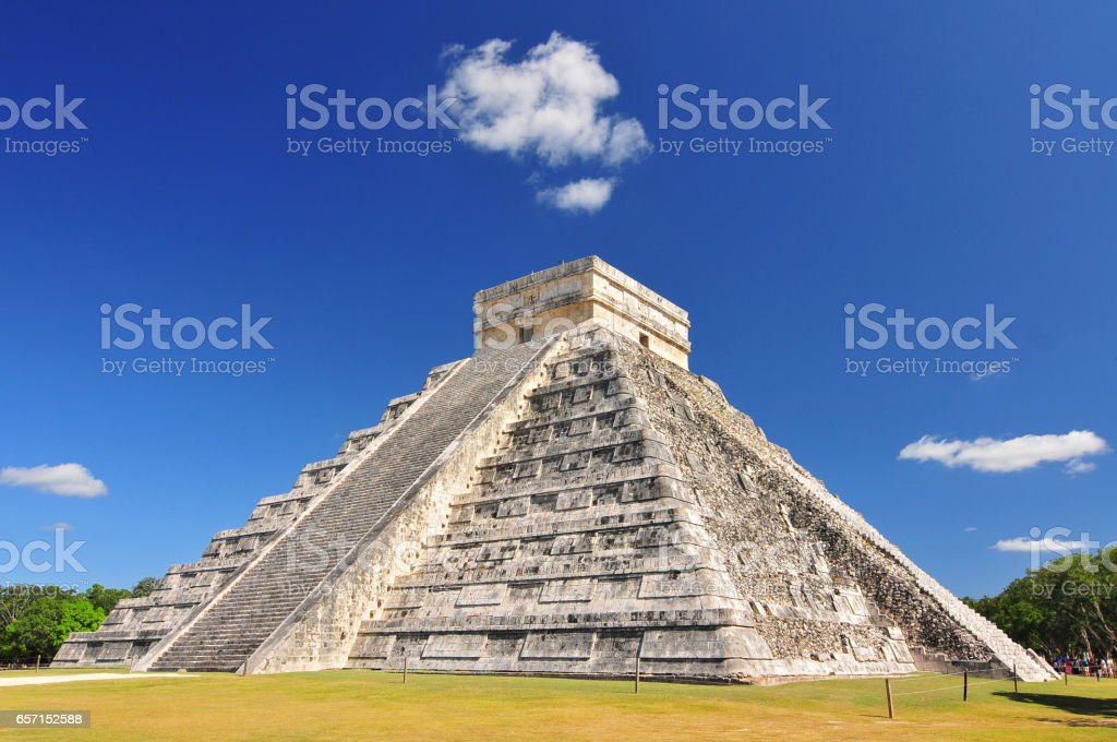 Chichen Itza, ruins el Castillo in Mexico. stock photo