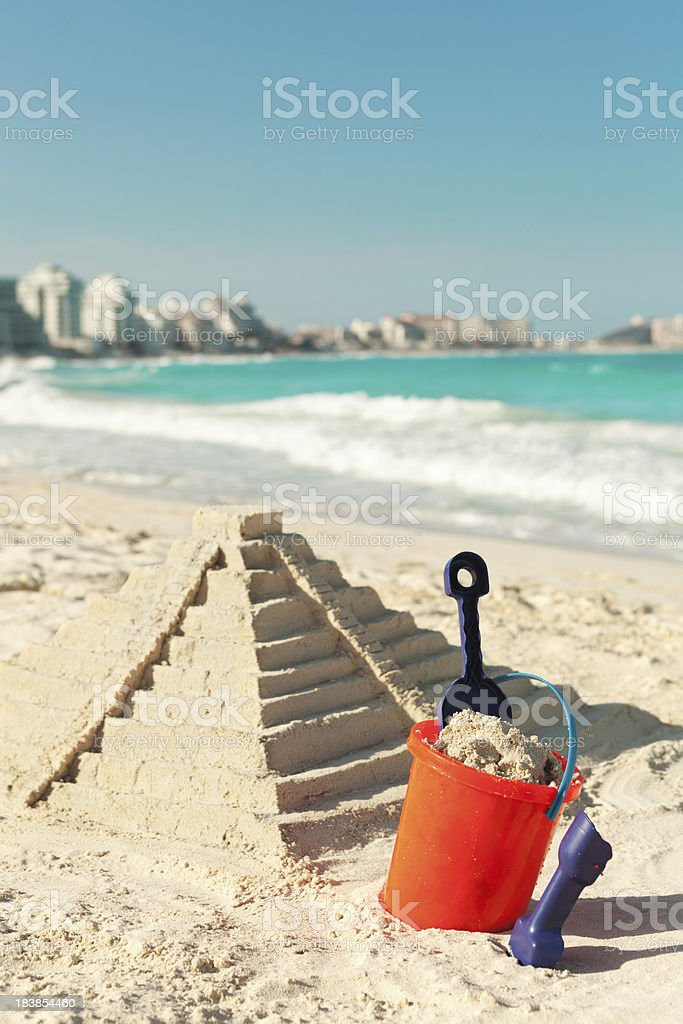 Chichen Itza Sand Castle on Beach of Cancun Mexico royalty-free stock photo