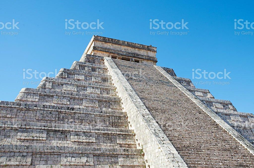 Chichen Itza with Blue Sky stock photo