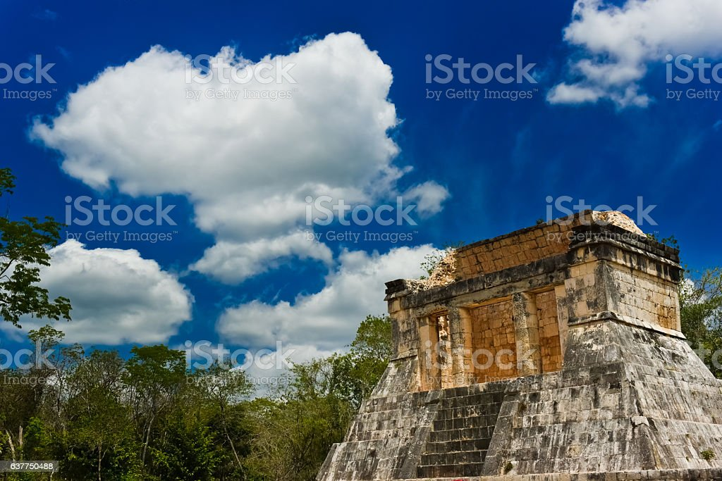 Chichen Itza's main guest seat of the whole stadium (diagonal) ストックフォト