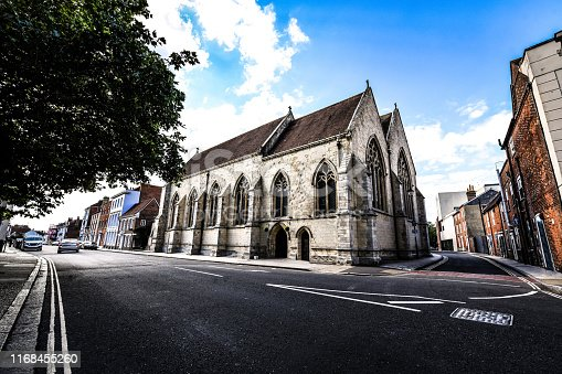 Chichester Cathedral And Street In Chichester, United Kingdom