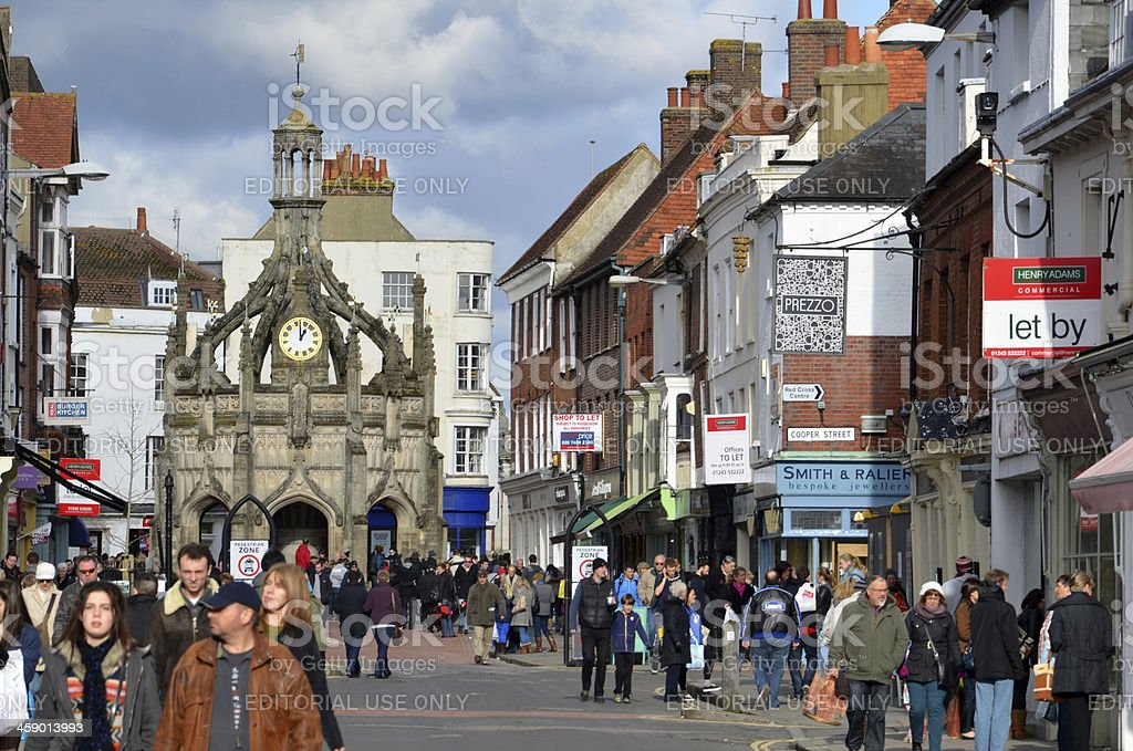 Chichester High Street and Market Cross stock photo