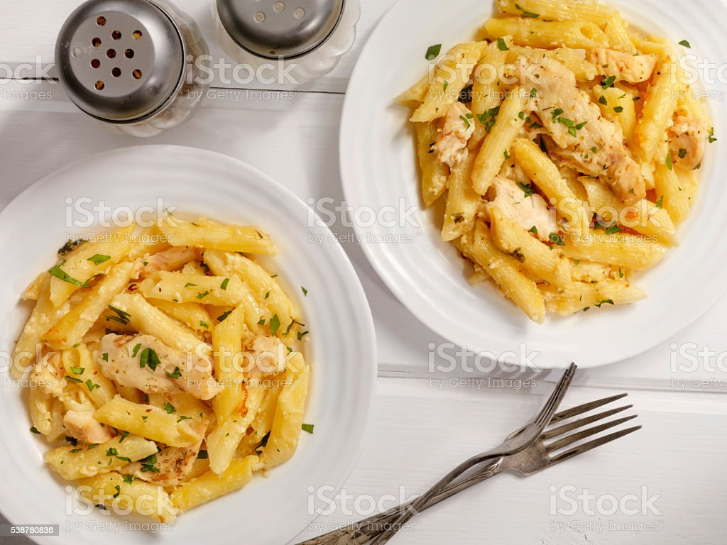 Chicken Alfredo with Penne Pasta stock photo