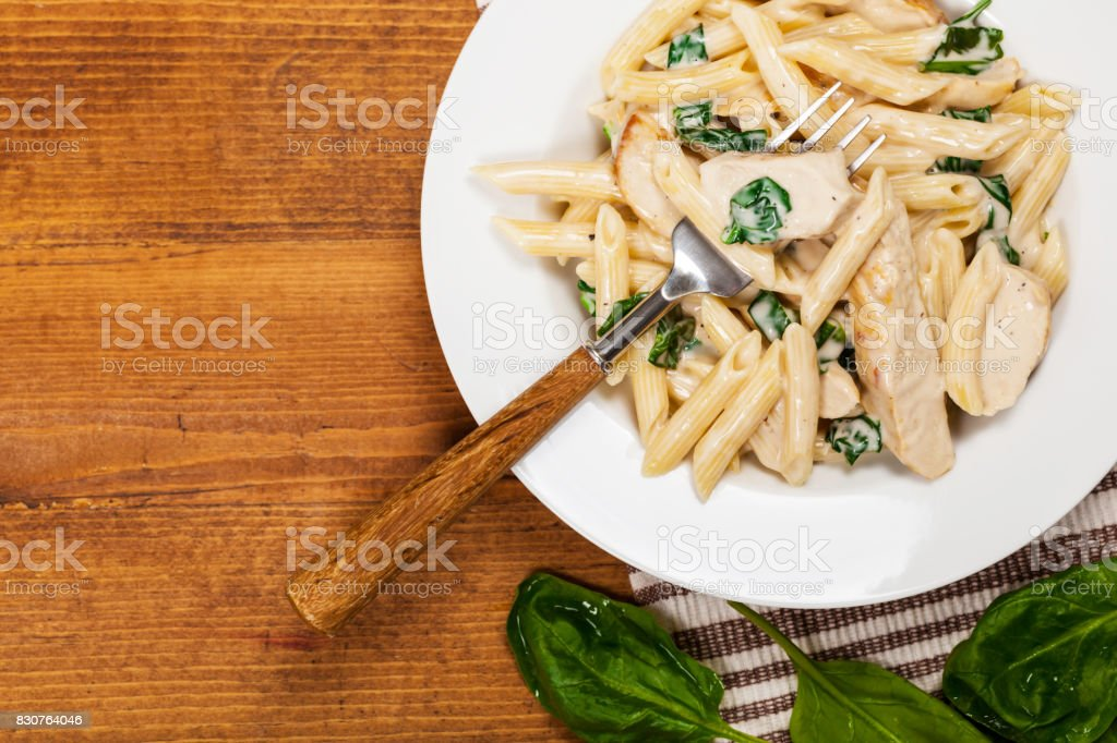 Chicken Alfredo with Spinach stock photo