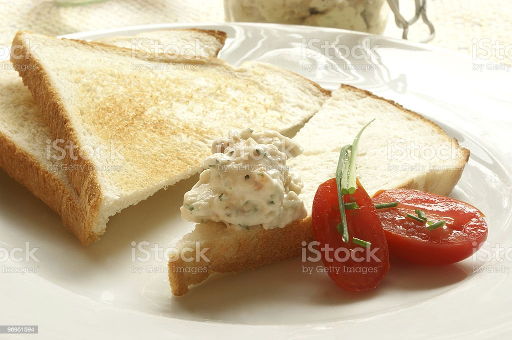 chicken and bacon spread on toast bread royalty-free stock photo