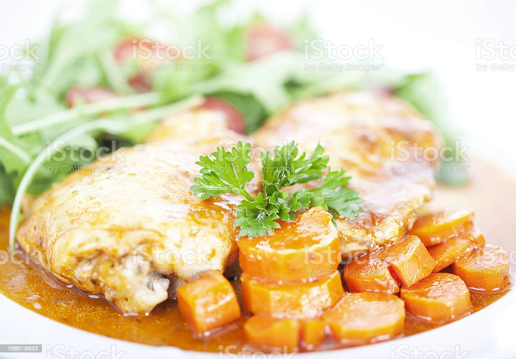 Chicken and carrot meal royalty-free stock photo