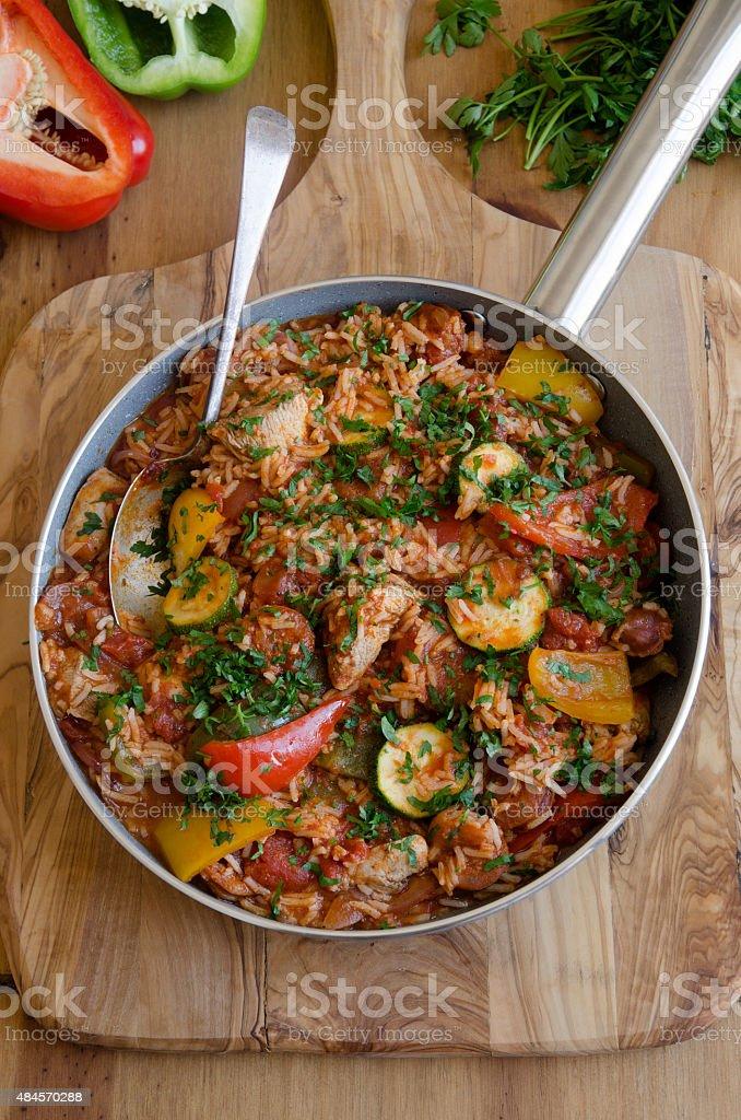 Chicken and chorizo jambalaya stock photo