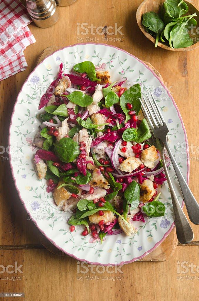 Huhn und ciabatta-Salat – Foto