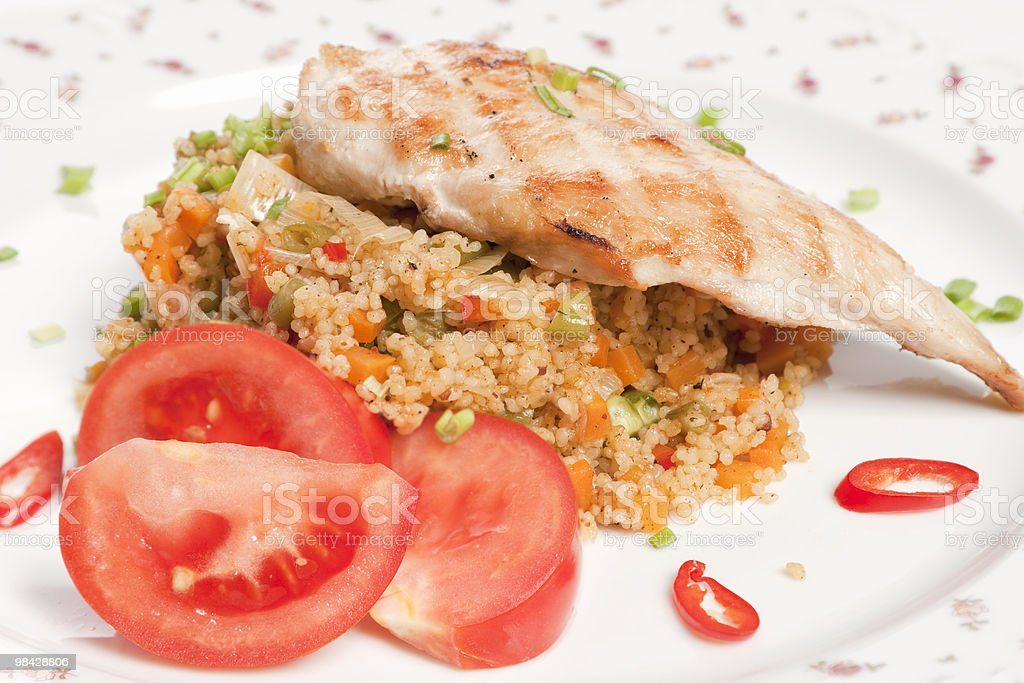 chicken and cuscus with vegetables royalty-free stock photo