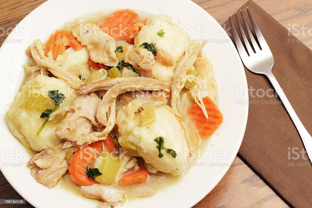 Chicken and dumplings royalty-free stock photo