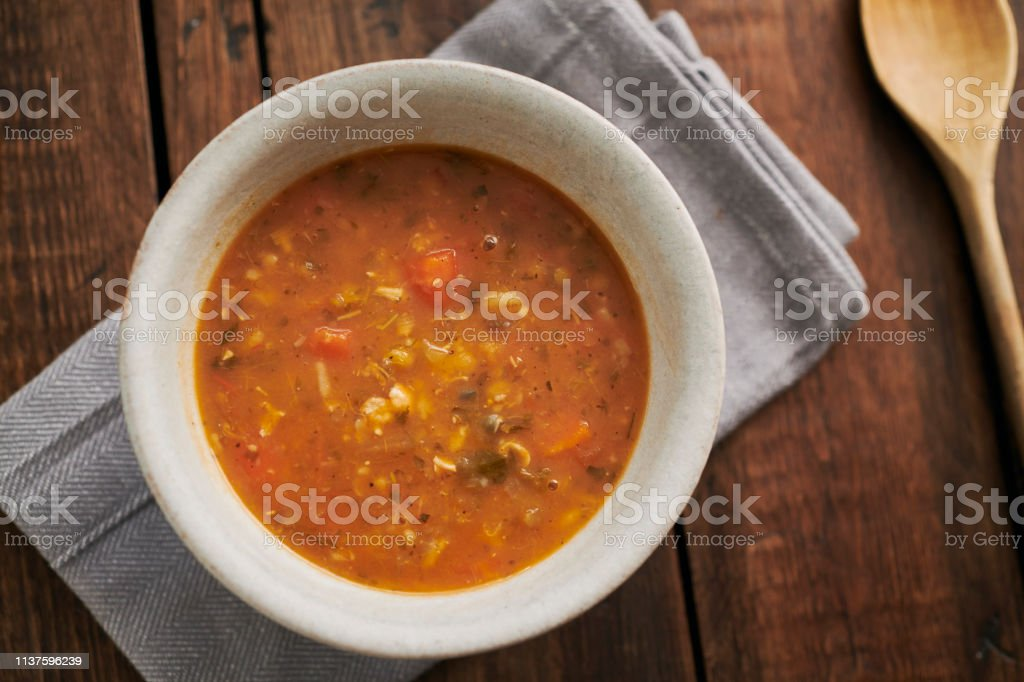 Chicken and mixed grain soup. stock photo