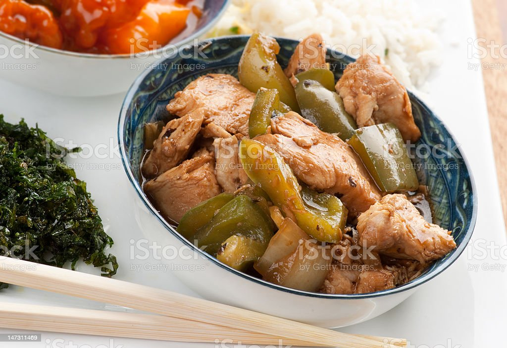 Chicken and Peppers in Black bean sauce stock photo
