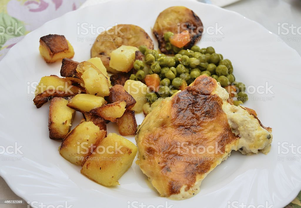 Chicken and potato royalty-free stock photo