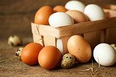 チキンやウズラの卵木の素朴な背景