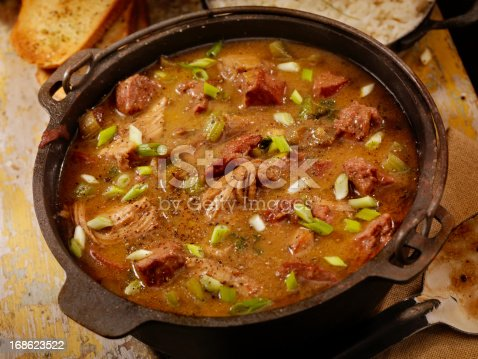 Creole Style Chicken  and Sausage Gumbo with white rice and French bread- Photographed on Hasselblad H3D2-39mb Camera