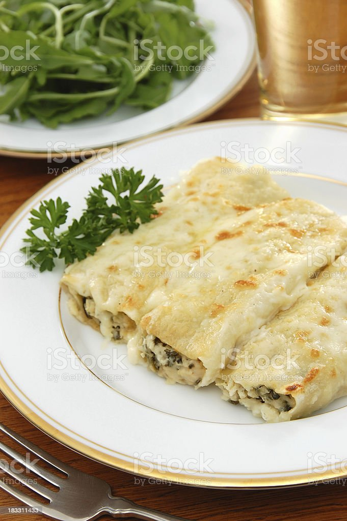 Chicken and Spinach Cannelloni royalty-free stock photo