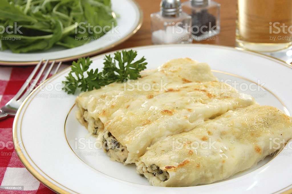 Chicken and Spinach Cannelloni stock photo