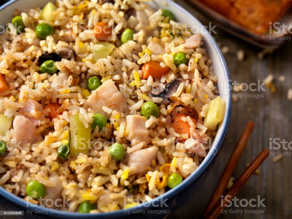 Chicken and Vegetable Fried Rice stock photo