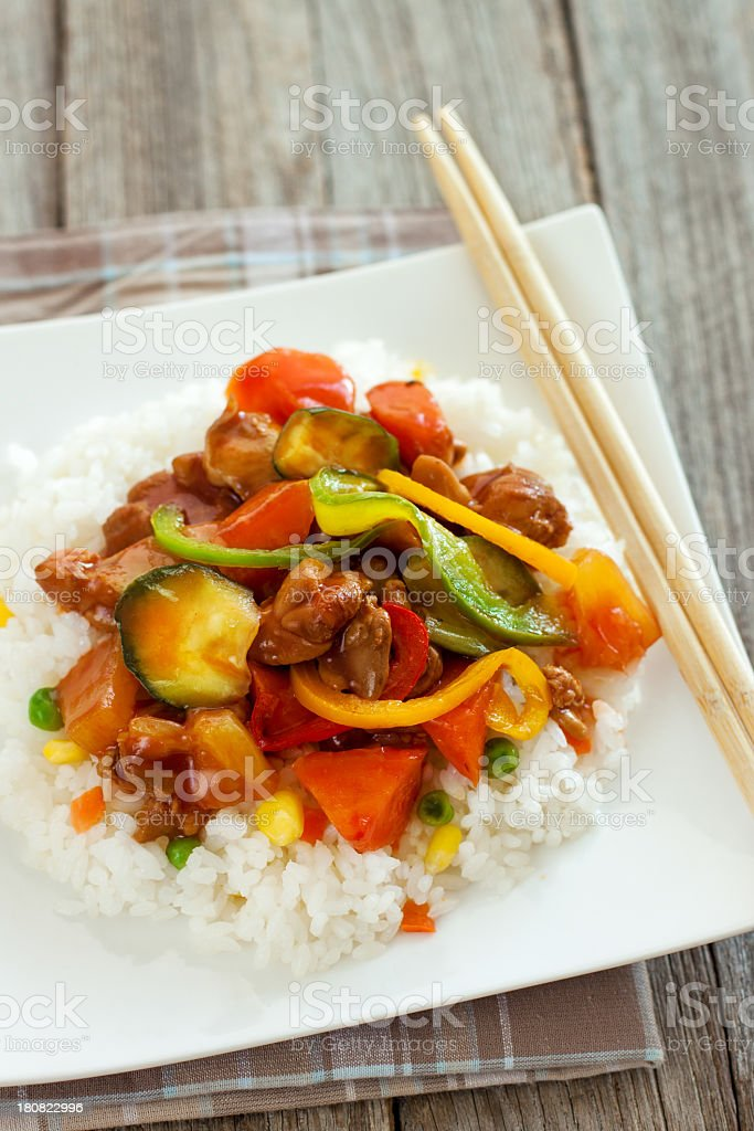 Chicken and Vegetable Stir Fry royalty-free stock photo