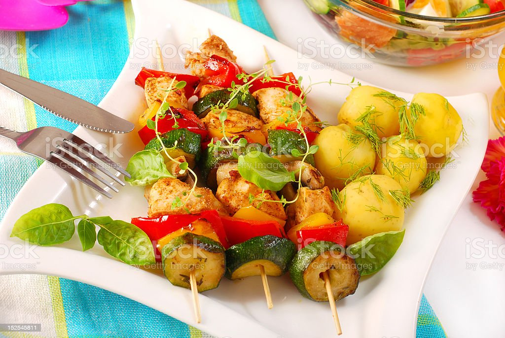 chicken and vegetables skewers royalty-free stock photo