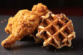 Fried chicken with Belgian style waffles