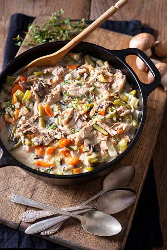 Chicken and Wild Rice Soup in a Cast Iron Dutch Oven
